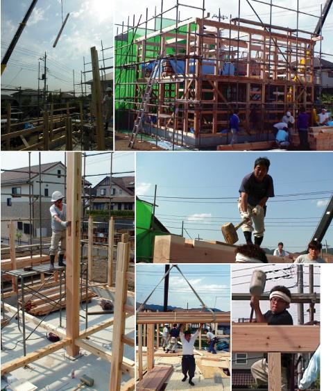 「日高の家」建方初日