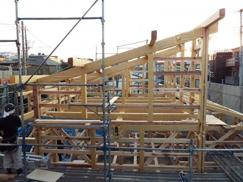 木組みの家「西寺尾の家」上棟