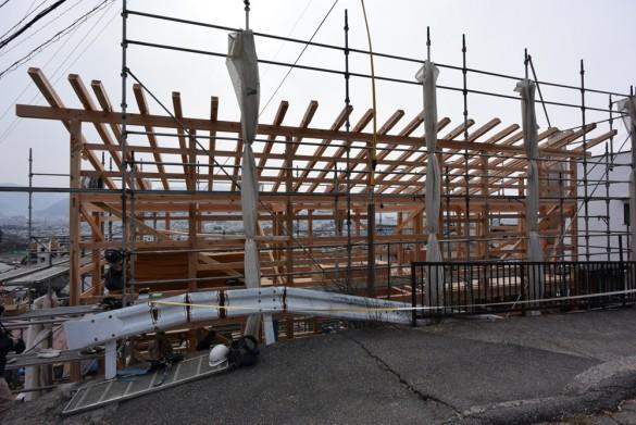 木組みの家「松本城のみえる家」上棟1