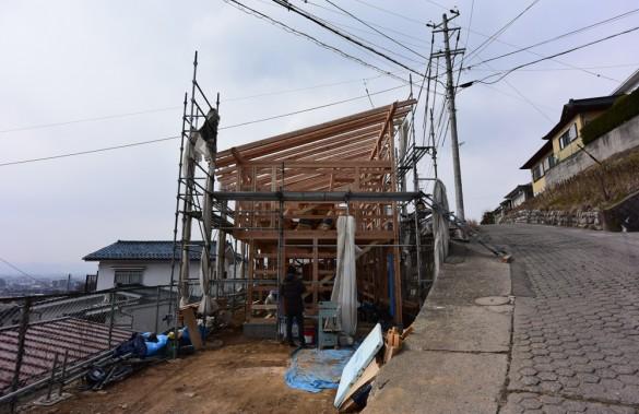 木組みの家「松本城のみえる家」上棟2