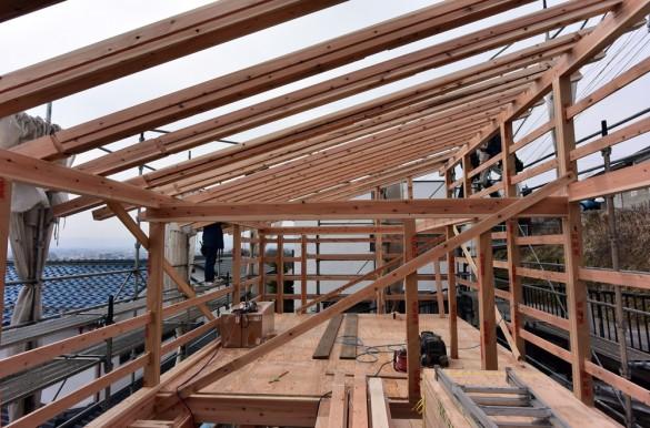 木組みの家「松本城のみえる家」上棟4