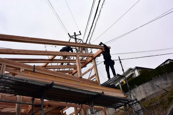 木組みの家「松本城のみえる家」上棟5