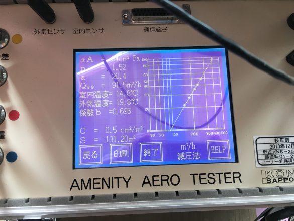 気密測定 C値=0.5