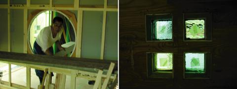 「日高の家」丸窓、ステンドグラス