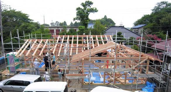 木組みの家「佐倉の平屋」上棟